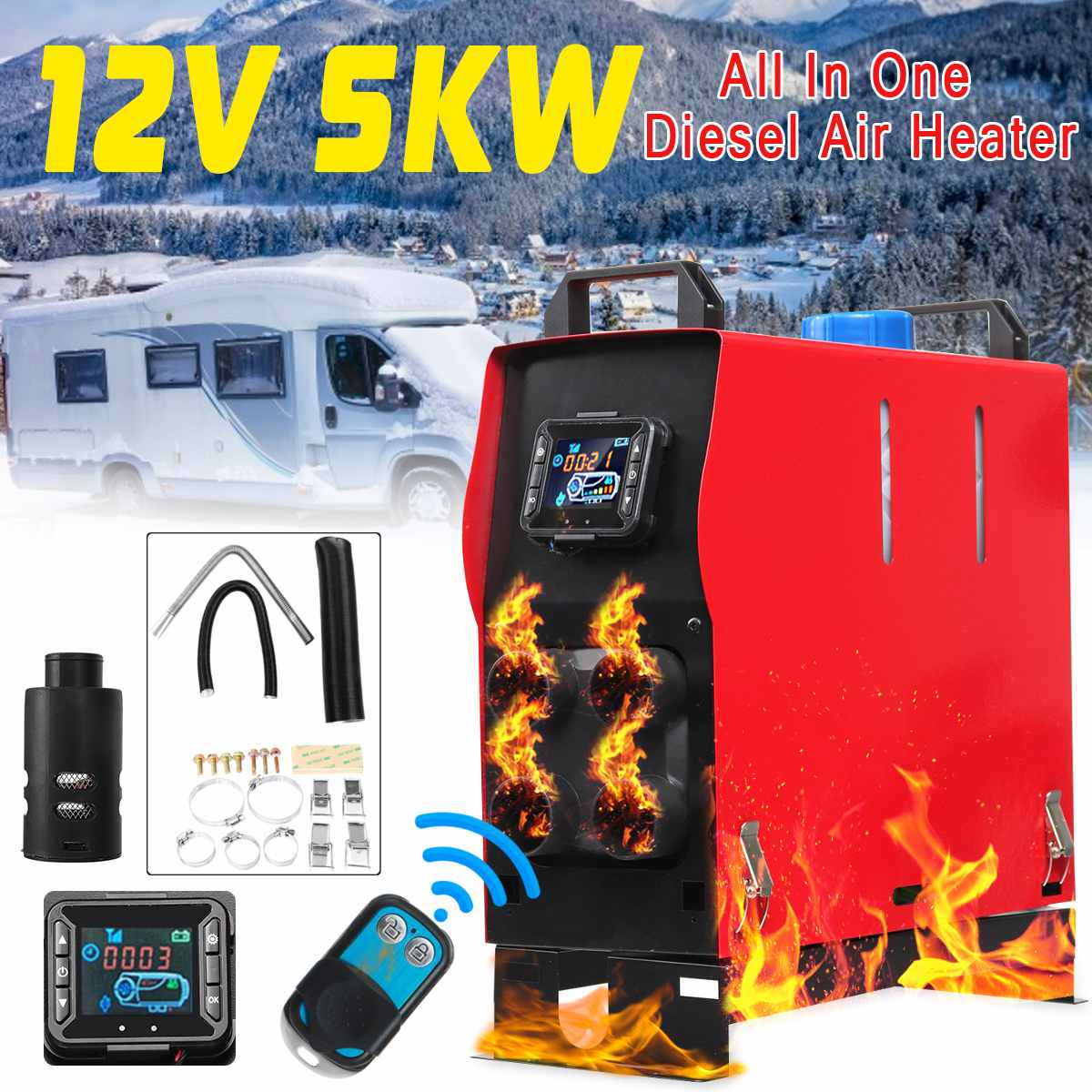 Diesel réchauffeur d'air 12 V 5KW Tout En 1 LCD 1/4 Trous PLANAIRE pour la voiture Camions Remorque Avec télécommande Moniteur À Faible Bruit automatique