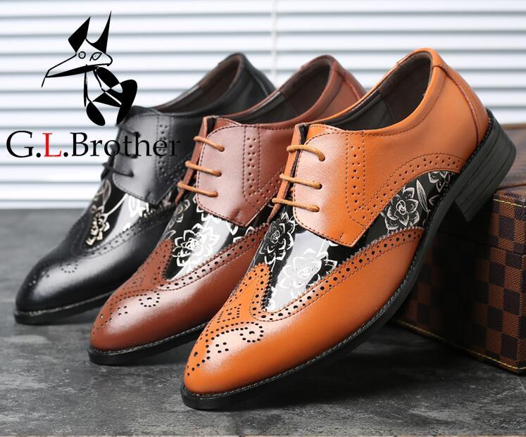 Lace-Up British Style Shoes Men's Stylish Pointed Toes Brogue Shoes Carved Patchwork Printed Genuine Leather Dress stylish 3 4 sleeve v neck lace up printed women s dress