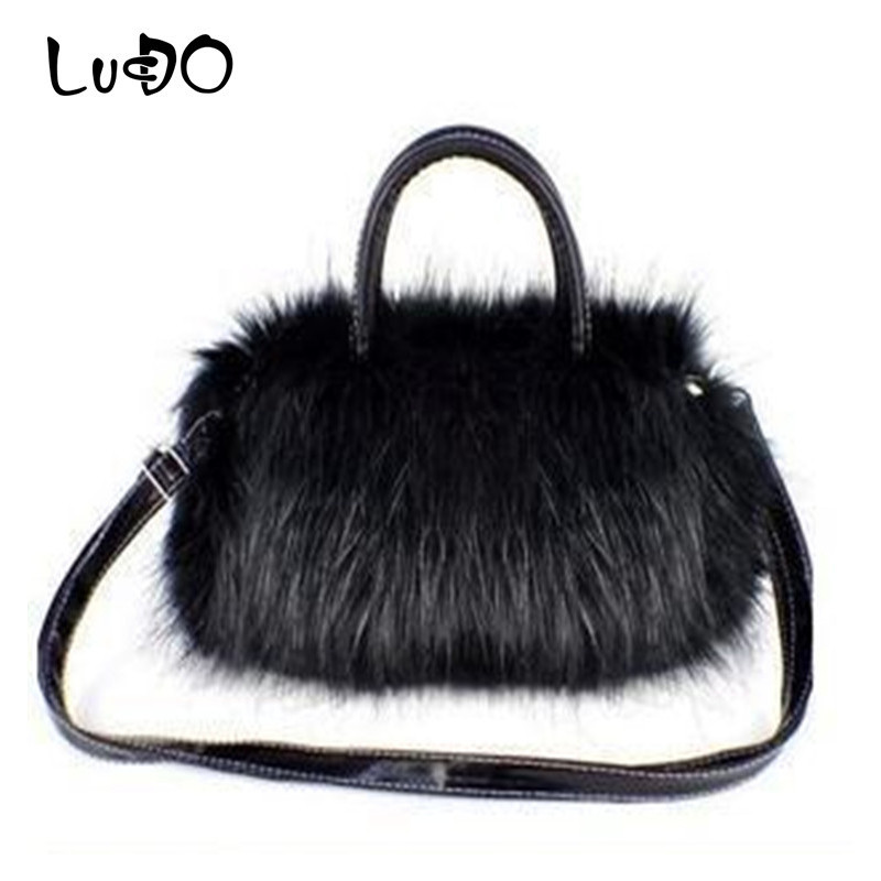 LUCDO Luxury Brand Lady Girl Pretty Cute Faux Rabbit Fur Handbag Mini Shoulder Messenger Bag Tote Fashion Women Bags Winter Sac