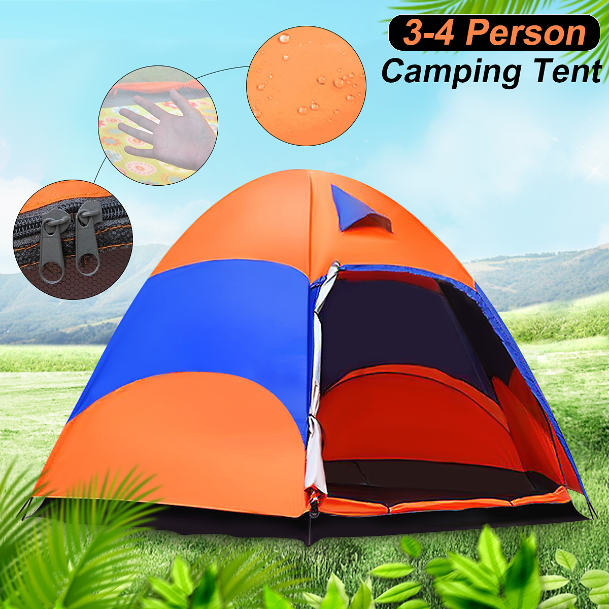 SGODDE 3-4 Person Family Instant Tent Double Layer Hiking Camping Outdoor Waterproof US Sports Camping Hiking Travel Beach mobi outdoor camping equipment hiking waterproof tents high quality wigwam double layer big camping tent