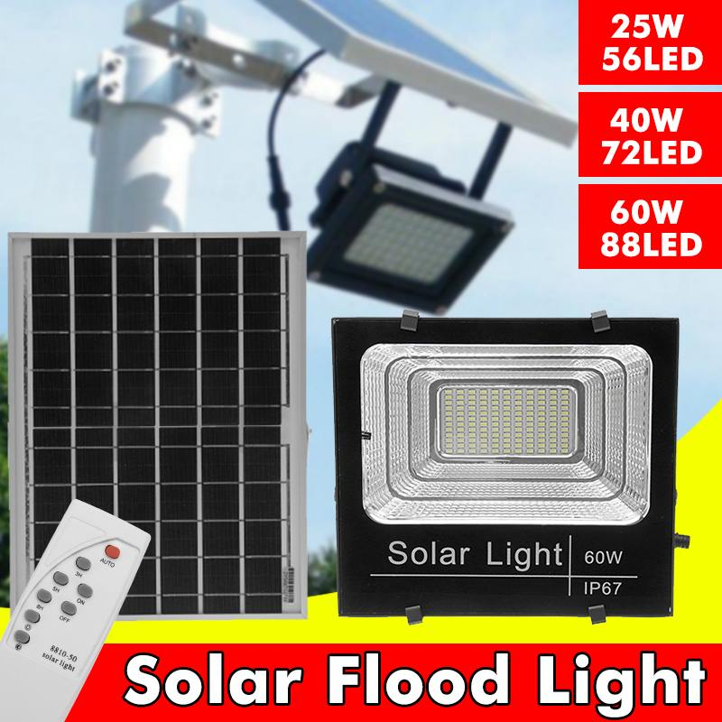 56/72/88LED Waterproof Solar Powered Sensor <font><b>LED</b></font> Flood Light 25W/40W/<font><b>60W</b></font> Security Spotlight Solar <font><b>Floodlight</b></font> with Remote Control image