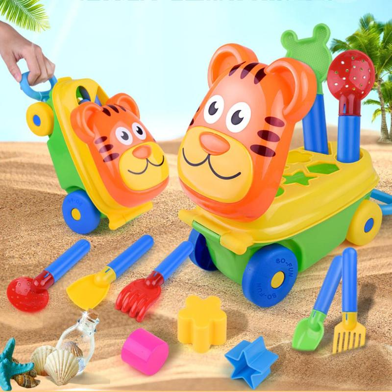 Cartoon Tiger Shape Sand Beach Toy Trolley Cute Trolley Sand Pretend Play Toys For Children Spade Shovel Rake Storage Case Set
