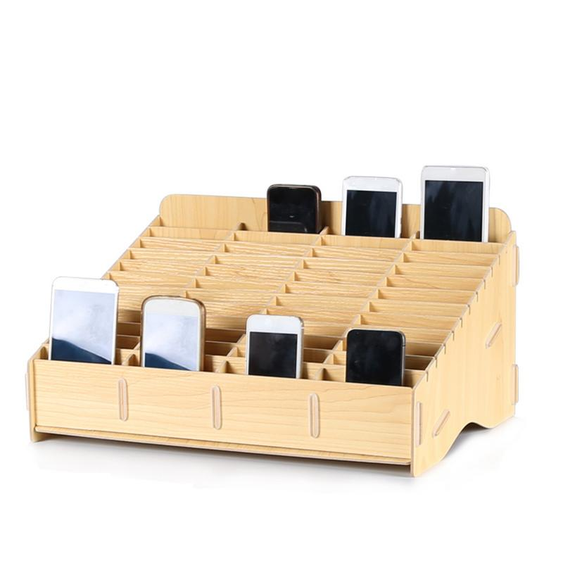 Wooden Mobile Phone Management Storage Box Creative Desktop Office Meeting Finishing Grid Multi Cell Phone Rack Shop Display