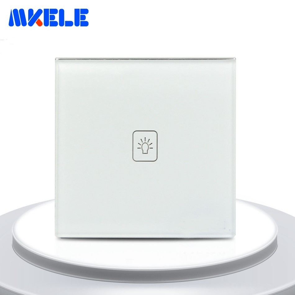 Touch Switch 1 Gang 2 Way White Crystal Glass Panel EU Standard Light Switches Touch Screen Wall Switch Socket For Lamp