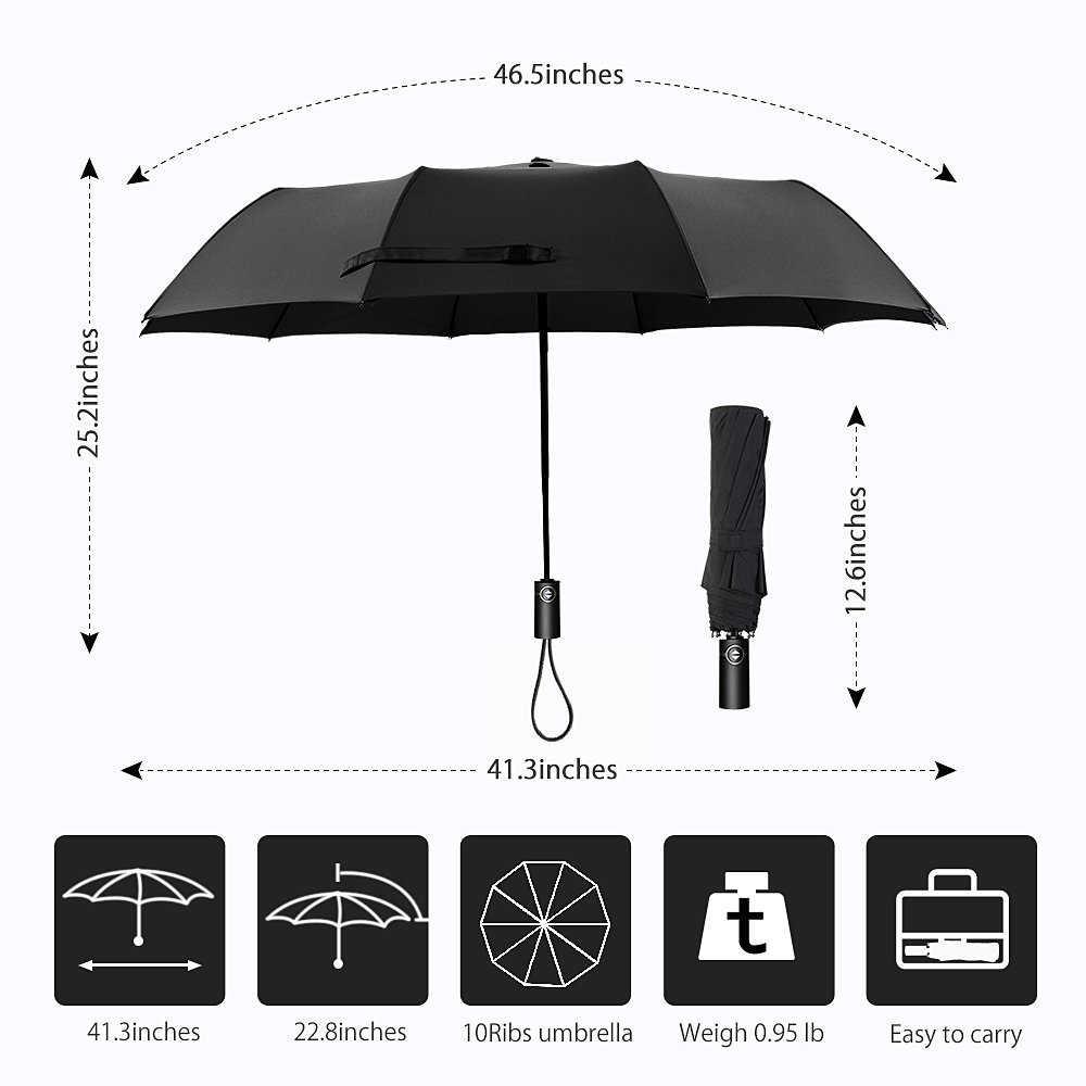 Зонт для путешествий, 10 ребра, лучший ветрозащитный зонтик с тефлоновым покрытием, автоматическое открытие близко и модернизированная удобная ручка-подарок Леа