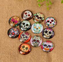 Mixed Farbe Blume und schädel Muster Mosaik Gedruckt Glas Halb Runde Handwerk Glas Mosaik für Schmuck Machen