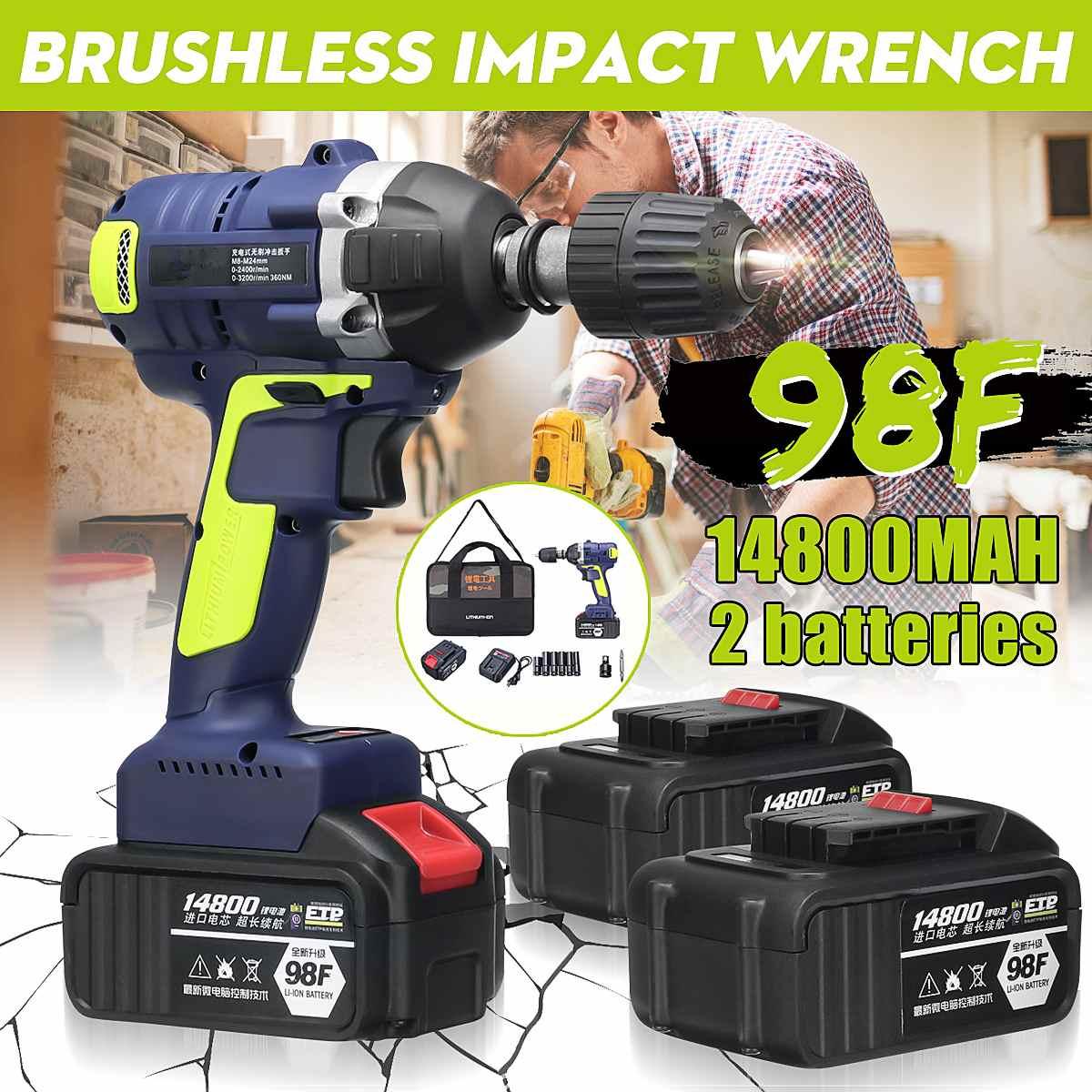 Brushless sem fio Chave de Impacto Elétrica Broca LED Light W/1 ou 2x14800 mAh Li-na Bateria ferramentas Chave Elétrica recarregável