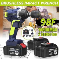 Cordless Brushless Electric Wrench Impact Drill LED Light W/ 1 or 2x 14800mAh Li on Battery Rechargeable Electric Wrench Tools