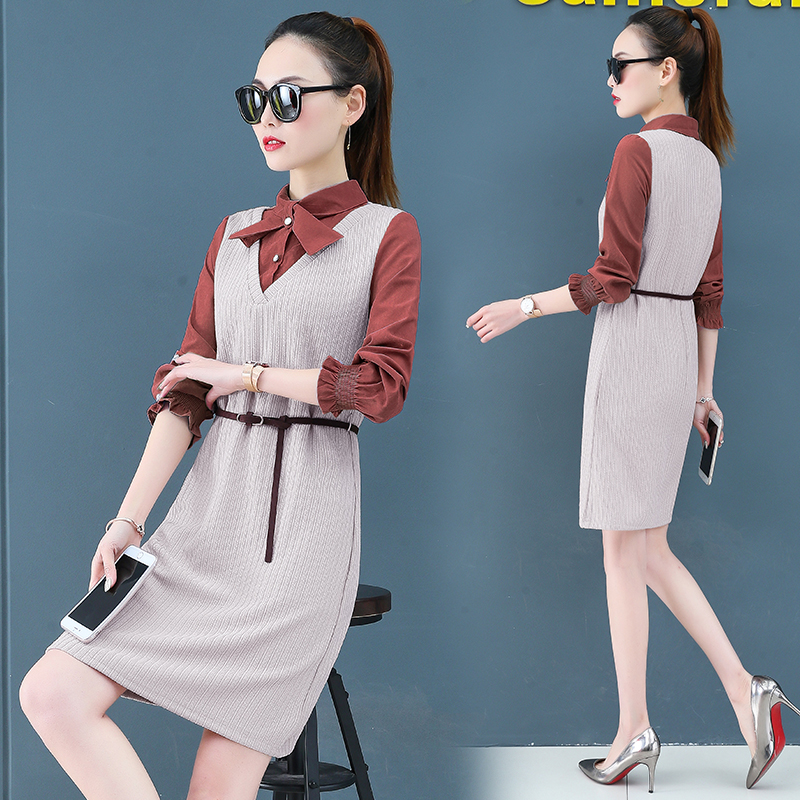 Render a dress in female new spring in the spring and autumn qiu dong fake two piece suit dress long 1