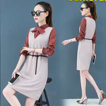 Render a dress in female new spring the and autumn qiu dong fake two piece suit long