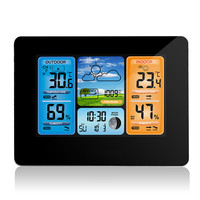 Digital Weather Forecast Station Wall Alarm Clock Temperature Humidity Backlight Snooze Function USB Power Supply