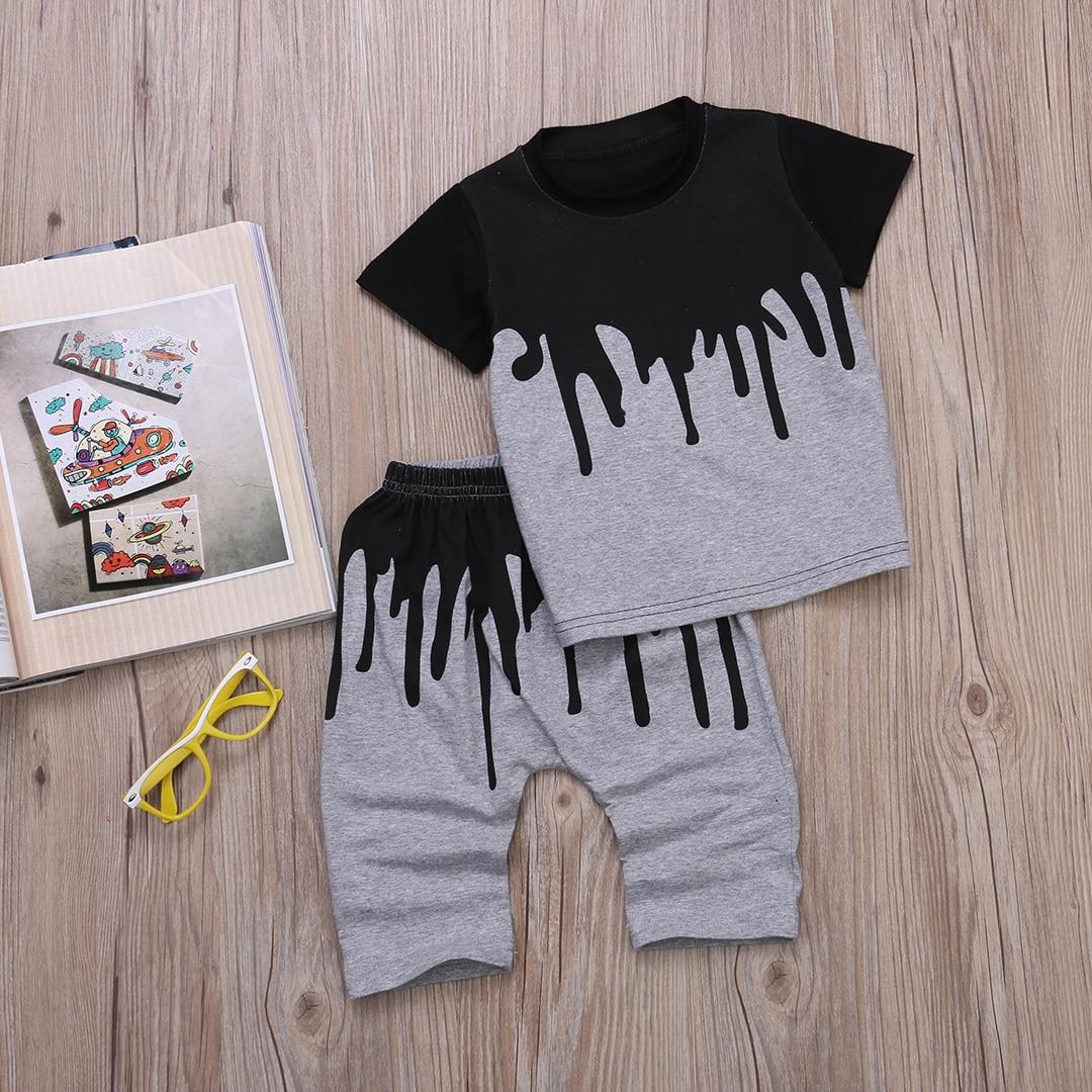 Комплект из 2 предметов: футболка с короткими рукавами и штаны, летняя одежда для маленьких мальчиков