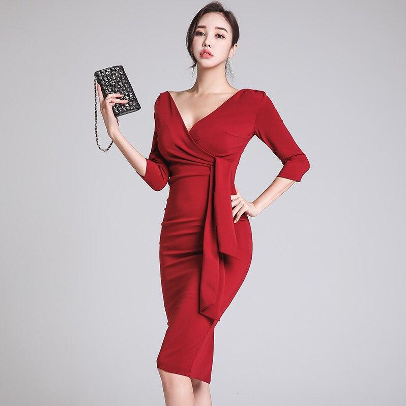 611131dac5ac2d ever En Robes Vestidos V D'affaires Split Robe Slim Femmes Yd ...