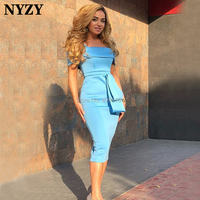 NYZY C92 Sky Blue Satin Tea Length Mermaid Off the Shoulder Cocktail Dresses Party Evening vestido coctel 2019