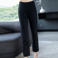 2xl Brand Wool Blend Nine Trousers 2019 Spring Fall Women's Trousers New Ol Commuter Pure Color Pants Slim Straight Pants Female