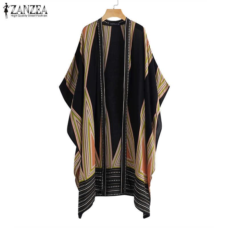 2019 בתוספת גודל ZANZEA קיץ קרדיגן נשים מקרית קצר עטלף שרוול מודפס חוף המפלגה Loose קימונו חולצה טוניקת חולצות חולצה