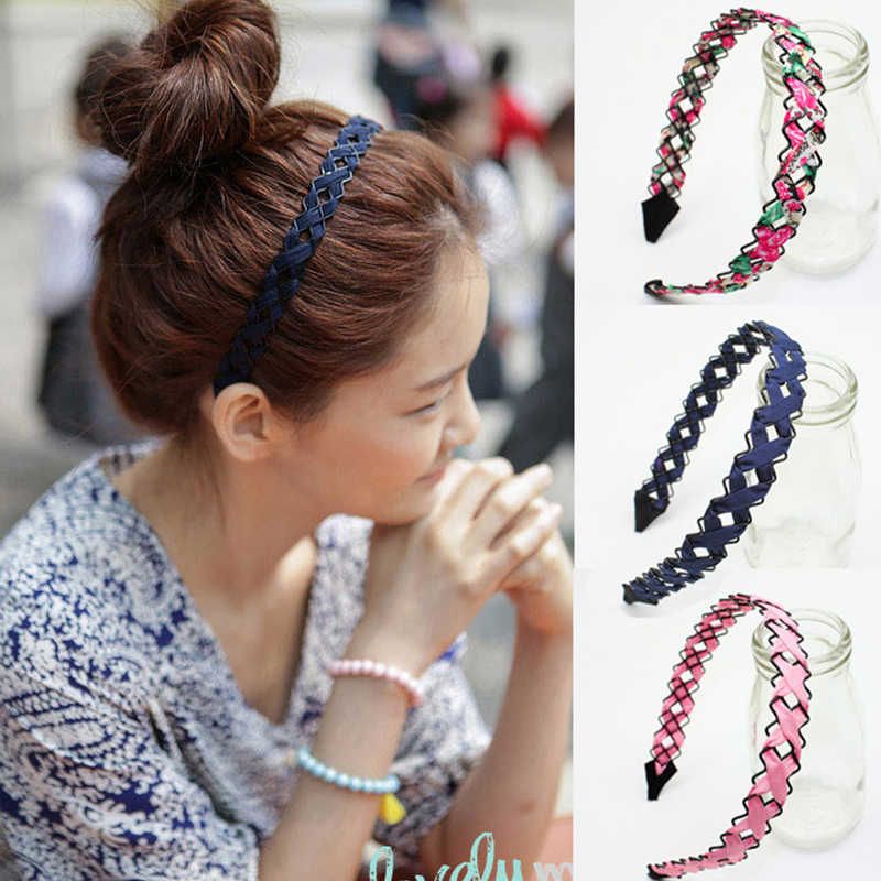LNRRABC 4 Colors Flower Print Wedding Headband Hollow Out Hair Accessories Handmade Weaving 1PC Gift Woman Girls Soft Wide Bezel
