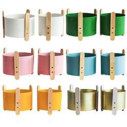 2 шт. Nordic стиль минималистский Железный Кашпо с деревянной подставкой Творческий Деревянный держатель стойки горшок для суккуленты