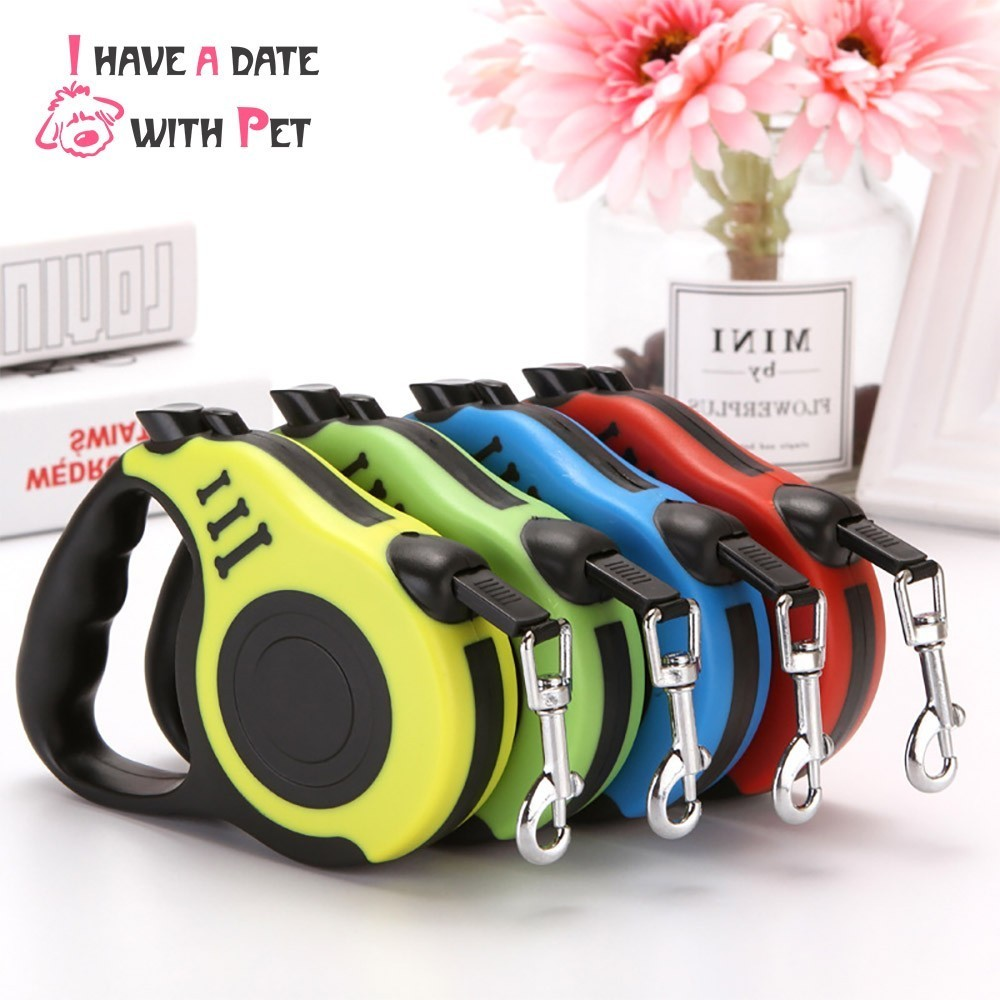 Productos para mascotas 3 M/5 M perro la ruleta de Nylon cachorro gato correa de perro Flexible retráctil libre de contracción cuerda de remolque