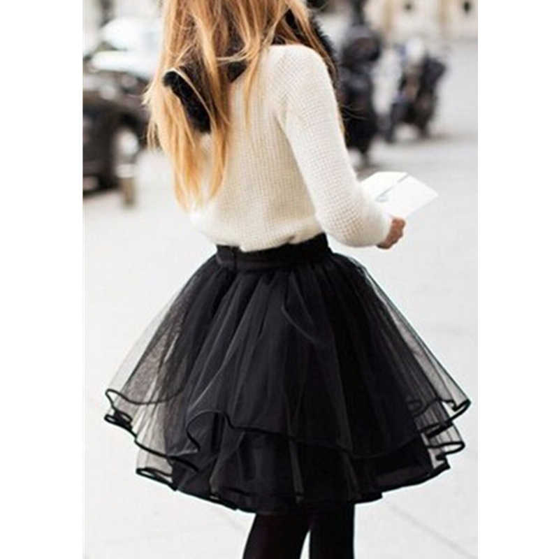 f48b21a60d7 ... New Fashion yarn Mesh Black Skirt Women Short Mini Skirt Plain Pleated  Tiered Ribbon Lining Party ...