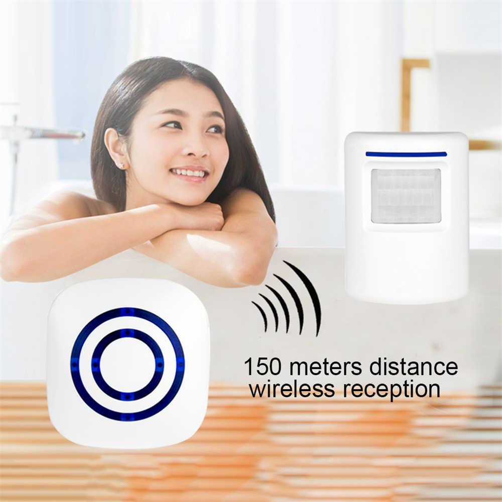Terbaru Wireless Bel Pintu Selamat Datang Lonceng Alarm Smart Sensor Gerak Infra Merah Bel Pintu Aman Keamanan untuk Rumah Toko Hotel Kantor