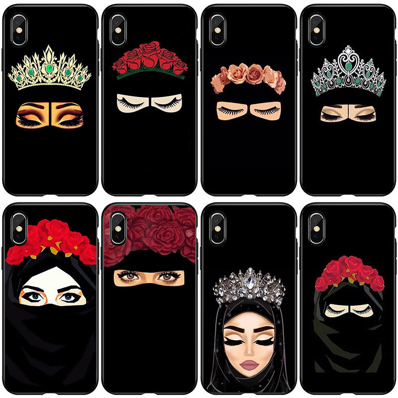 Ottwn Arabic Hijab <font><b>Girl</b></font> Queen Crown Phone Case <font><b>For</b></font> <font><b>iPhone</b></font> 11 Pro Max XR Xs Max Soft TPU <font><b>Cover</b></font> <font><b>For</b></font> <font><b>iPhone</b></font> <font><b>6</b></font> 6s 7 8 Plus 5 5s SE image