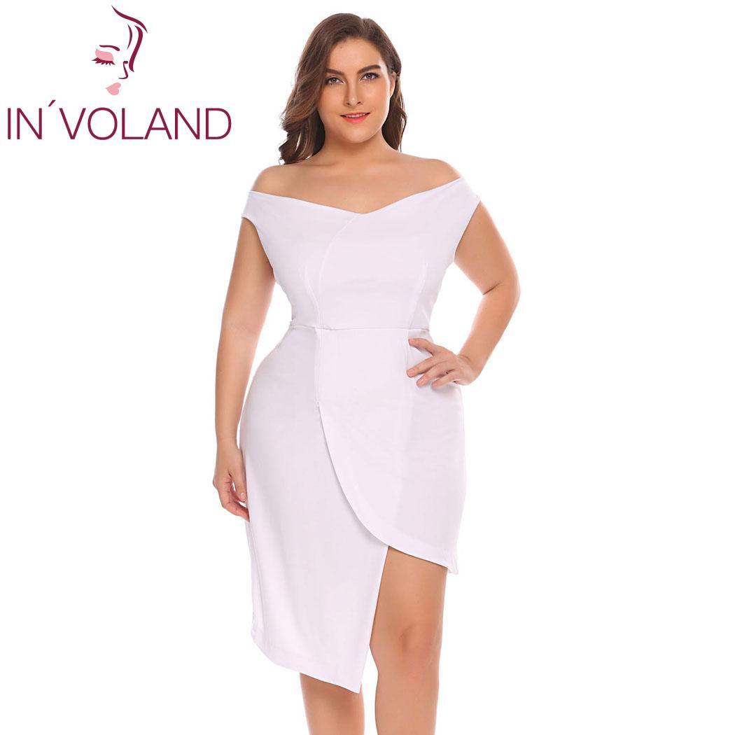 414d46d4c20d7 BIG SALE] Gosopin V Neck Plus Size Sexy Slit Dress Women Summer ...