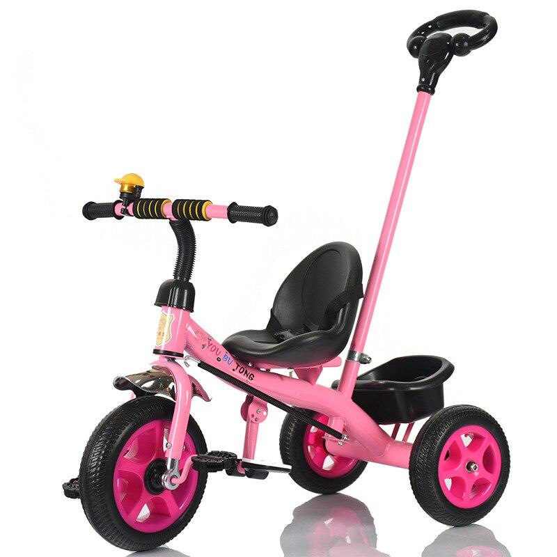 Enfant main pousser tricycle enfants trois roues vélo bébé poussette landau avec poignée