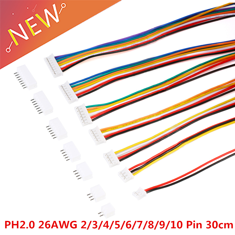 20PCS=10Sets Micro Mini JST 2.0 PH Connector Male Female 2/3/4/5/6/7/8/9/10-Pin Plug With Wires Cables Socket 300MM 26AWG New
