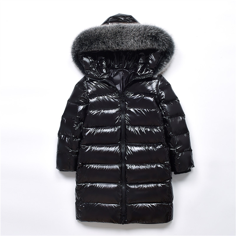 Girls Pearlite Layer Jackets 2018 Children Winter Clothes Girl Warm Natural Fur Collar Hooded Long Down