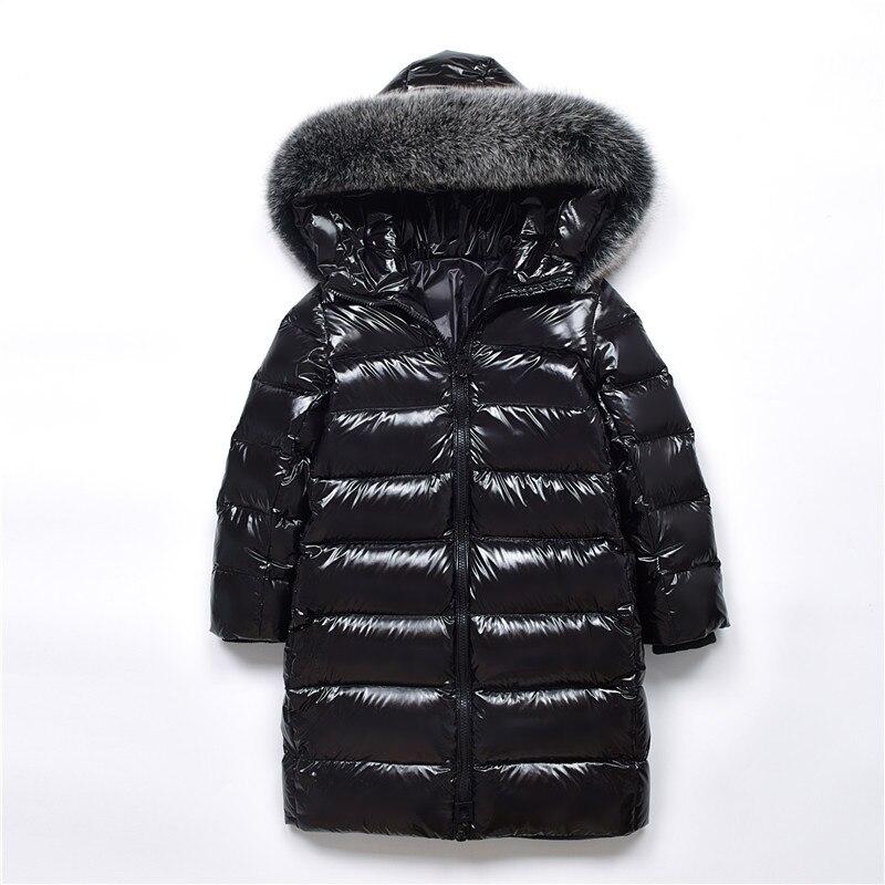 Filles Pearlite couche vestes 2018 enfants vêtements d'hiver fille chaud naturel fourrure col à capuche Long vers le bas manteaux pour vêtements d'extérieur pour enfant