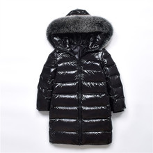 купить Girls Pearlite Layer Jackets 2018 Children Winter Clothes Girl Warm Natural Fur Collar Hooded Long Down Coats for Kids Outerwear дешево