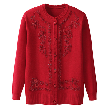 Autumn Winter Middle Aged Women Single Breasted Long Sleeve Cardigan Sweater Knitted Cardigans Coat Plus Size 4XL 2019 autumn winter women long sleeve 2 pieces knitted cardigan sweater casual floral print pull femme sweater plus size 4xl
