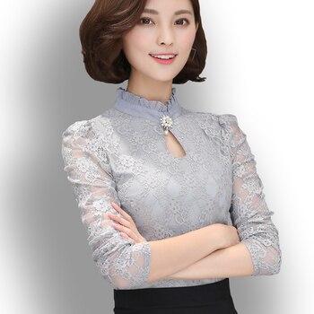 Women's New Chiffon Lace Blouses Tops Feminine Long Puff Sleeved Shirt Ruffled Button Tops Plus Size 4XL Blusa Fiminina 1