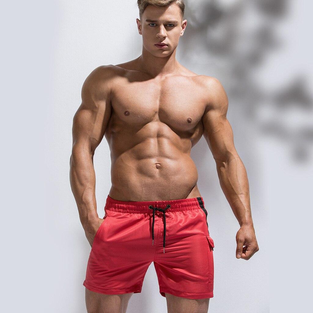 2019 Sexy traje de baño de los hombres pantalones cortos para los hombres natación troncos rápido seco playa Surf pantalones cortos traje de baño traje de bolsillo traje de baño