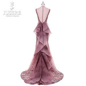 Image 2 - 2018 Jusere מזרח התיכון קמיע חום למעלה לראות דרך רקום Appliqued ערב שמלות פיצול צד באורך רצפת שמלת הנשף