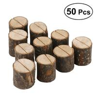 50 Pcs Compact Wooden Pile Business Card Holder Retro Bark Card Clamp for Decorations Wedding Party Men and Women