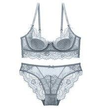 Fashion Women New Lace Lingerie Bra Set Sexy Push Up Underwear Sets Plus Size Transparent Bras And Panties Set