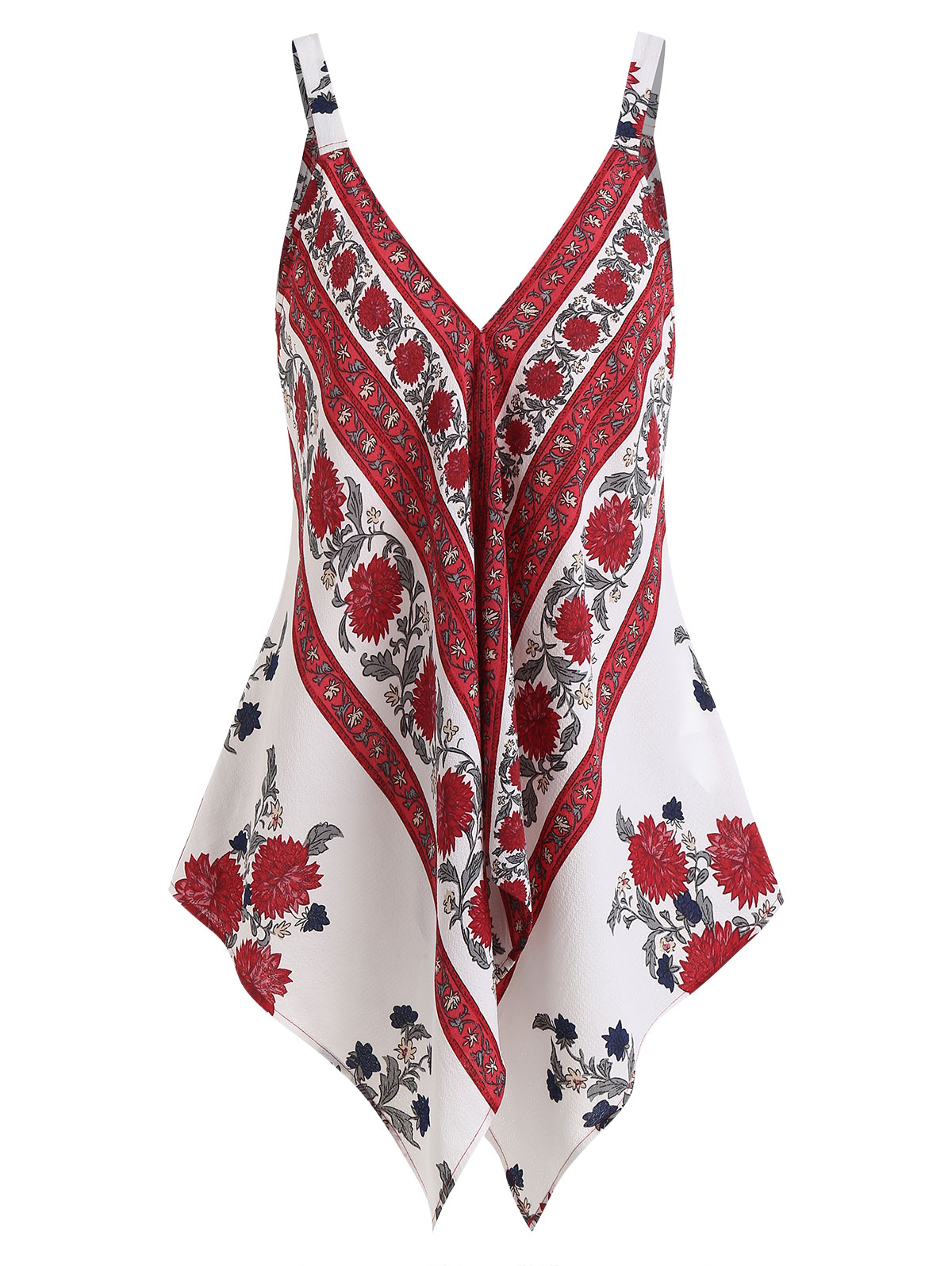 Wipalo Low Cut Asymmetric Floral Top Asymmetric Draped Floral Handkerchief Summer Women Ladies Tanks Top Floral Tees