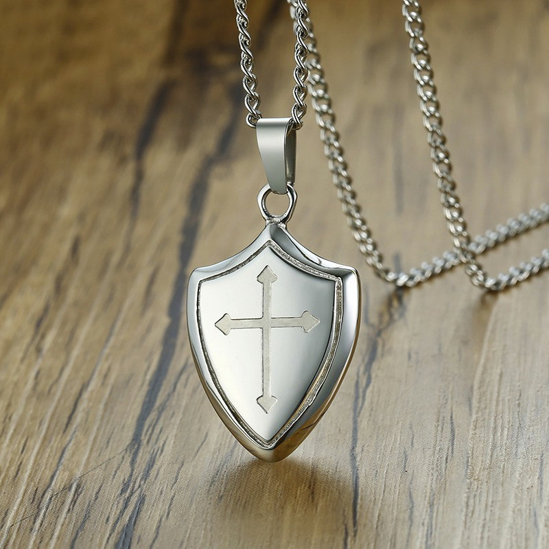 Men Shield Shape Cross Pendant Necklace in Silverly Stainless Steel Be Strong and Courageous Bible Verse Christian Jewelry image