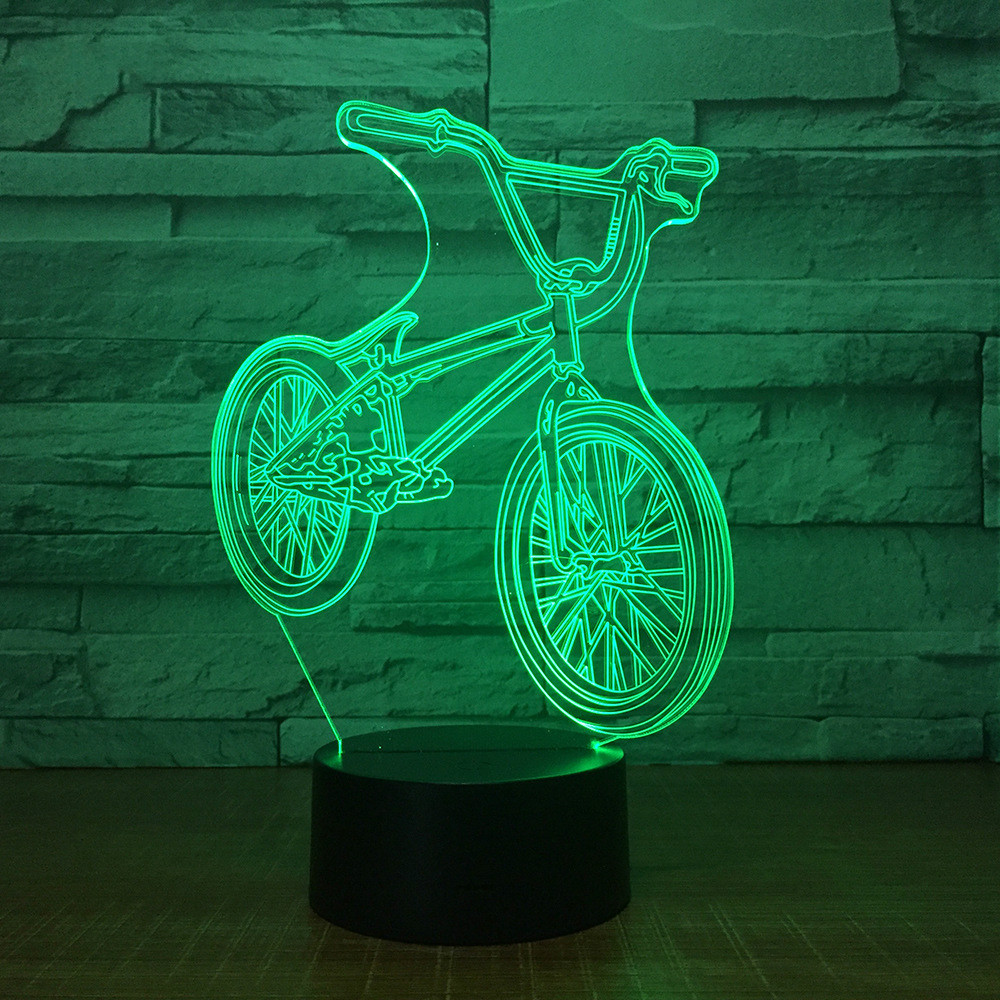 3D Bike Bus Acrylic LED Night Light Touch 7 Color Changing Desk Table Lamp Party Decorative Sensor  Christmas Gift
