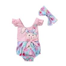 От 0 до 2 лет, кружевная пляжная одежда в стиле пэчворк с принтом кролика для новорожденных девочек, комбинезон, спортивный костюм для малышей+ Венда, комплект одежды