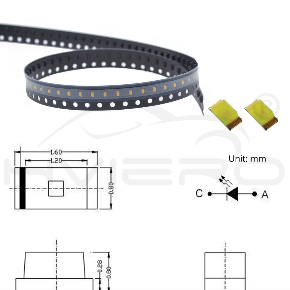 1608 100PCS SMD SMT 0603 LED Yellow Green Light Emitting Diodes Super Bright