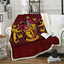 3D Harri Potter Gryffindor Symbol Plush Throw Blanket Red Color Sherpa Fleece Bedspread Blanket Vintage Bedding Blanket 2019