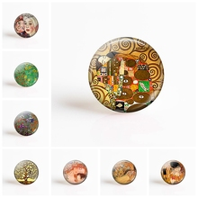 Gustav Klimt 25mm Round Glass Cabochon Art Pendant Making Photo Cameo Cabochon Setting Supplies for DIY Jewelry Accessories