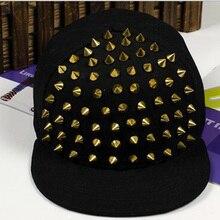 1PC Fashion Punk Rivet  Baseball Cap Flat Hat Men And Women Kid Boys Girls Bones Hip Hop Sunhat