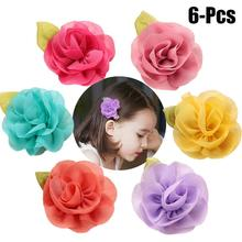 6Pcs Baby Hair Clip Fashionable Flower Korean Childrens Hairpin Roses Sweet Princess Head Jewelry Girls Accessories