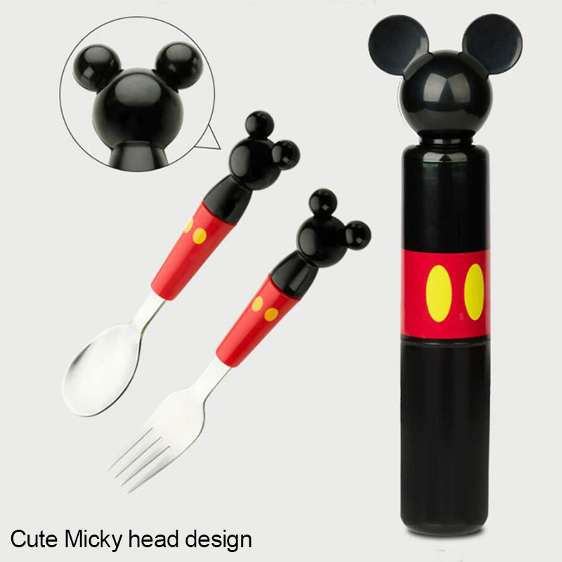 Mickey Head Portable Stereo Stainless Steel Fork Spoon With Baby Boxed Set For Tableware Consisting Training Fork Spoon Set