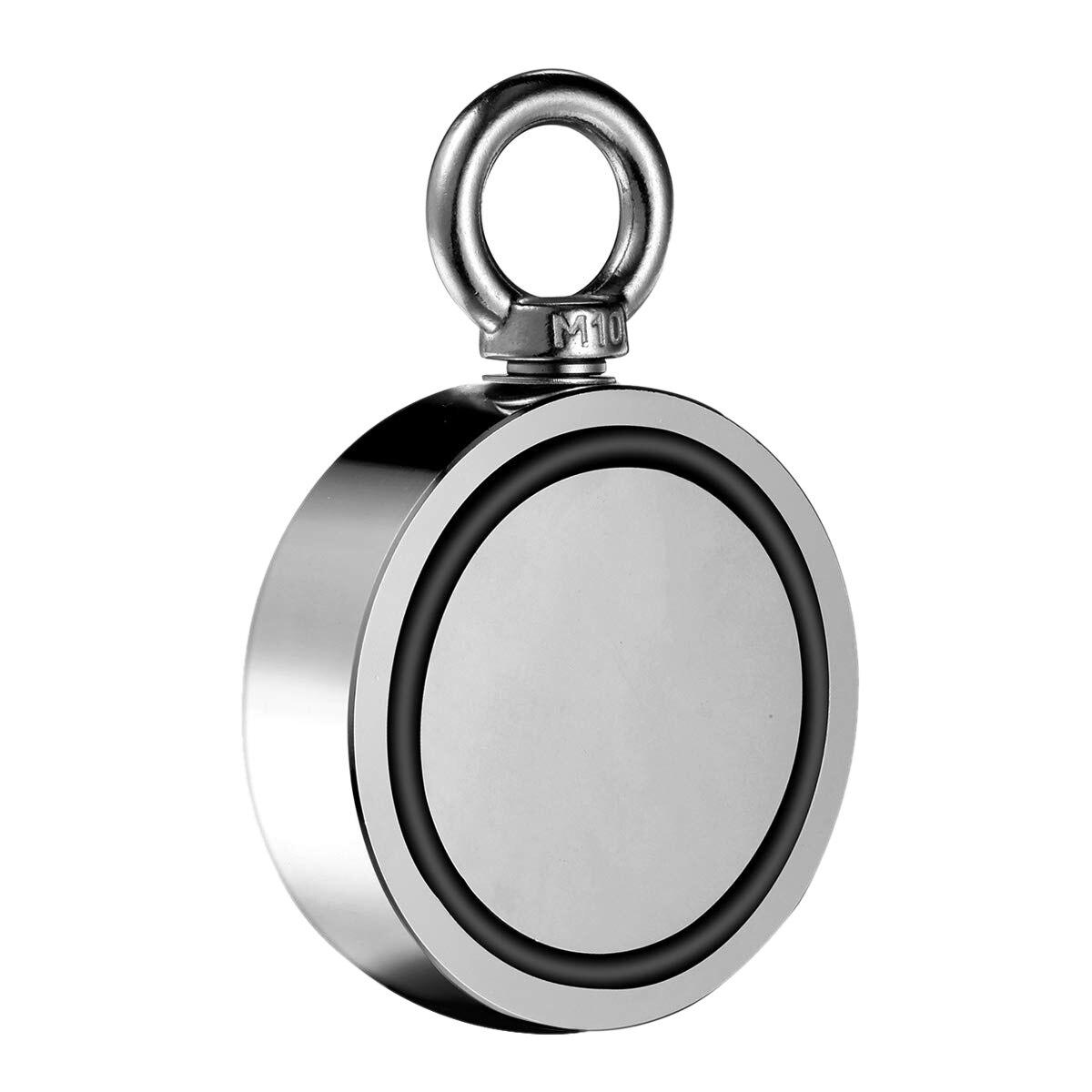 SHGO CHAUDE-Double Face Néodyme Aimants De Pêche, 94 Mm Diamètre, Combiné 1696Lbs (770Kg) force de traction Rare Earth Aimant Aimant