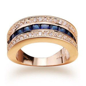 Image 2 - מלא יהלומי ספיר טבעת לנשים 18k זהב Bague או Jaune Bizuteria עבור תכשיטי Anillos גברים חן אנל תכשיטים זהב טבעת